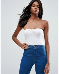 ASOS - White Body With Ruched Bandeau Detail - Lyst
