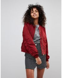 Monki Red Bomber Jacket