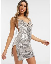 I Saw It First Metallic Sequin Cowl Neck Backless Dress