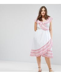 ASOS - White Broiderie Skater Dress With Cold Shoulder - Lyst
