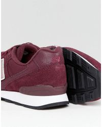 New Balance - Red 996 Trainers In Metallic Burgundy - Lyst