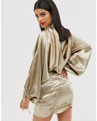 ASOS DESIGN Tall - Robe courte en satin avec jupe froncée et top style blouson ASOS en coloris Pink
