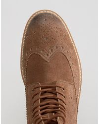Frank Wright - Brown Brogue Boots In Tan Suede for Men - Lyst