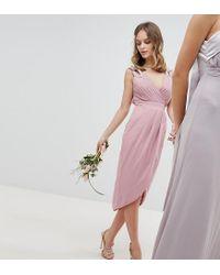 TFNC London Pink Wrap Embellished Midi Bridesmaid Dress