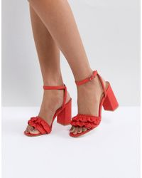 530138114499c Truffle Collection Ruffle Block Heel Sandal in Red - Lyst