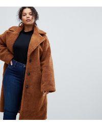 Abrigo de peluche de ASOS DESIGN Curve ASOS de color Brown