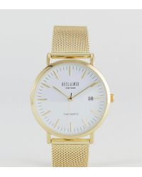 Reclaimed (vintage) Metallic Inspired Mesh Watch In Gold 36mm Exclusive To Asos for men