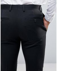 French Connection Black Plain Formal Slim Fit Trousers for men