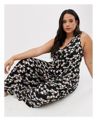 ASOS Black Asos Design Curve Curved Smock Jumpsuit In Grunge Floral Print