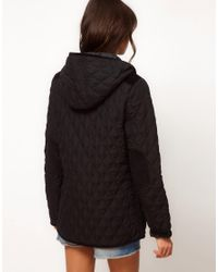 ASOS Black Asos Hooded Quilted Jacket With Spot Lining
