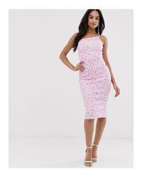 Vestido midi con cuello asimétrico y estampado ASOS de color Pink