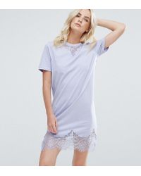 ASOS - Blue T-shirt Dress With Lace Inserts - Lyst