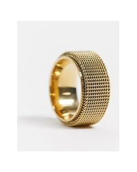 Seven London Metallic Band Mesh Ring for men