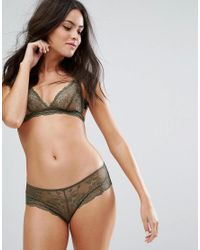 Monki - Green Lace Thong - Lyst