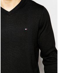 Tommy Hilfiger - V Neck Jumper In Black for Men - Lyst