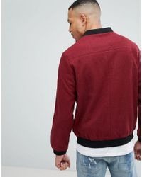 D-Struct Red D Struct Tall Wool Bomber Jacket for men