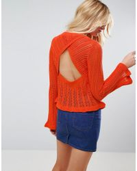 ASOS Orange Crochet Top With Frill Detail