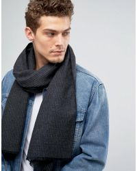 Écharpe à motif pied-de-poule Solid pour homme en coloris Gray