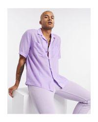 Camicia casual trasparente con rever lilla di ASOS in Purple da Uomo