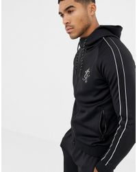Gym King Muscle Hooded Sweat In Black With Side Stripes for men