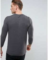 ASOS Muscle Fit T-shirt With 3/4 Length Sleeves In Gray for men