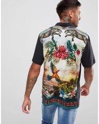 River Island Black Revere Collar Shirt With Cheetah Print for men