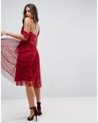ASOS - Red Dobby One Shoulder Midi Prom Dress - Lyst