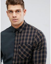 New Look - Regular Fit Half Check Shirt In Green for Men - Lyst