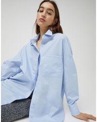 Голубая Рубашка Бойфренда В Стиле Oversized Из Поплина -голубой Pull&Bear, цвет: Blue