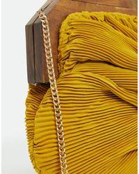 Sac pochette effet noué avec structure en bois - Moutarde Accessorize en coloris Yellow