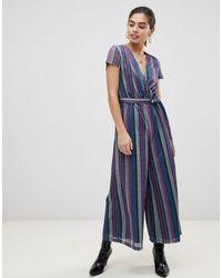 UNIQUE21 Blue Short Sleeve Glitter Striped Jumpsuit
