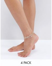 ALDO - Metallic Delicate Stacking Anklets - Lyst