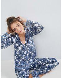 ASOS - Blue Tile Print Long Sleeve Shirt & Pant Pyjama Set - Lyst
