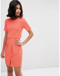 ASOS - Orange Textured Double Layer Mini Wiggle Dress - Lyst