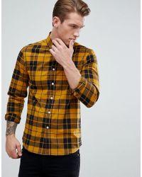 Camisa a cuadros de corte slim elstico en popelina mostaza de ASOS de hombre de color Yellow