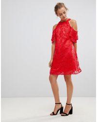 Little Mistress Red Cold Shoulder Lace Shift Dress