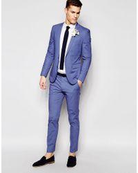 ASOS - Skinny Suit Jacket In Blue Poplin for Men - Lyst