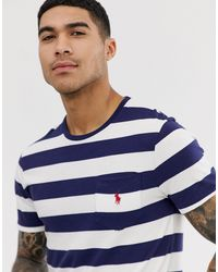 T-shirt a righe larghe blu navy/bianco con logo e tasca di Polo Ralph Lauren in Blue da Uomo