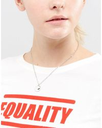 ASOS - Metallic Double Disc Simple Signet Necklace - Lyst