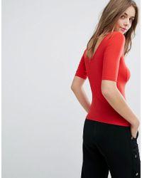 Monki Red V Front & Back T-shirt
