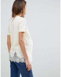 ASOS Pink Lace Mix Longline T-shirt