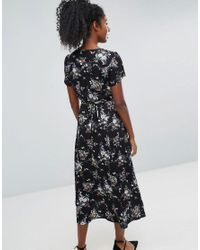 Oasis Black Wrap Front Floral Print Midi Dress