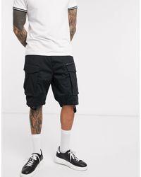 Pantalones cortos negros estilo cargo G-Star RAW de hombre de color Black