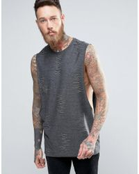 ASOS Gray Longline Tank With Distressing In Charcoal for men