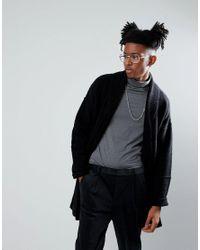 ASOS - Longline Knitted Jacket In Black for Men - Lyst