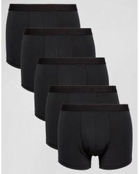 ASOS - Asos Trunks 5 Pack In Black Microfibre for Men - Lyst