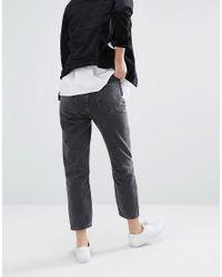 New Look Black Busted Knee Mom Jean