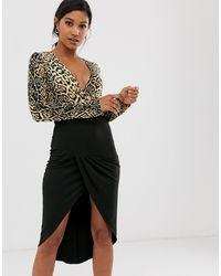 Платье Миди 2 В 1 С Длинными Рукавами И Глубоким Вырезом -мульти AX Paris, цвет: Black