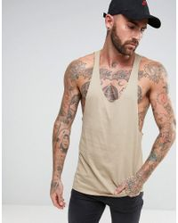 ASOS Natural Vest With Raw Edge Extreme Racer Back for men