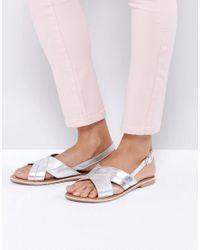 New Look - Metallic Cross Strap Sandals - Lyst